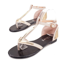 Discounting New Woman Fashion Sandals T-strip Metal Buckle Graditor Style Summer Shoes Womans 2 Colors in Size 35-39(China (Mainland))