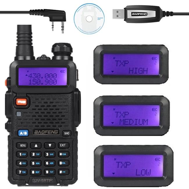 Baofeng UV-5RTP VHF/UHF 136-174/400-520MHz Dual-Band FM High Power 1/4/8W Two-way Ham Radio Transceiver + Programming Cable(China (Mainland))