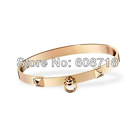 Breathtaking Designer Rose Gold Tone Pyramid Bracelet,In Nice 18K Pink Gold Plated Metal,Elegance Christmas Gift For Your Lover(China (Mainland))