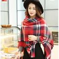 2017 Brand winte Women Blanket Poncho Scarf Imitated Cashmere Scarf Cape Winter bufandas manta Tartan fashion Tassel pashmina