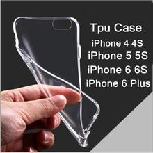 Free shipping 2015 new 0.3mm Crystal Clear Soft Silicone Transparent TPU Case cover for iPhone  5 5S 4 4S 6 6S 6 Plus(China (Mainland))