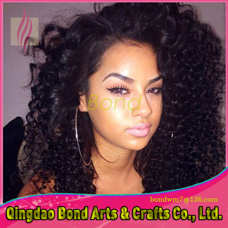 Фотография High quality 130 density Glueless full lace wigs Virgin Brazilian Human hair curl lace front wigs for black women with baby hair