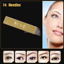 JM611D-X2 10Pcs flat Permanent Makeup Manual 14-Pin Needle Blade Tattoo Products For Eyebrow Pen Machine Free shipping Chuse(China (Mainland))