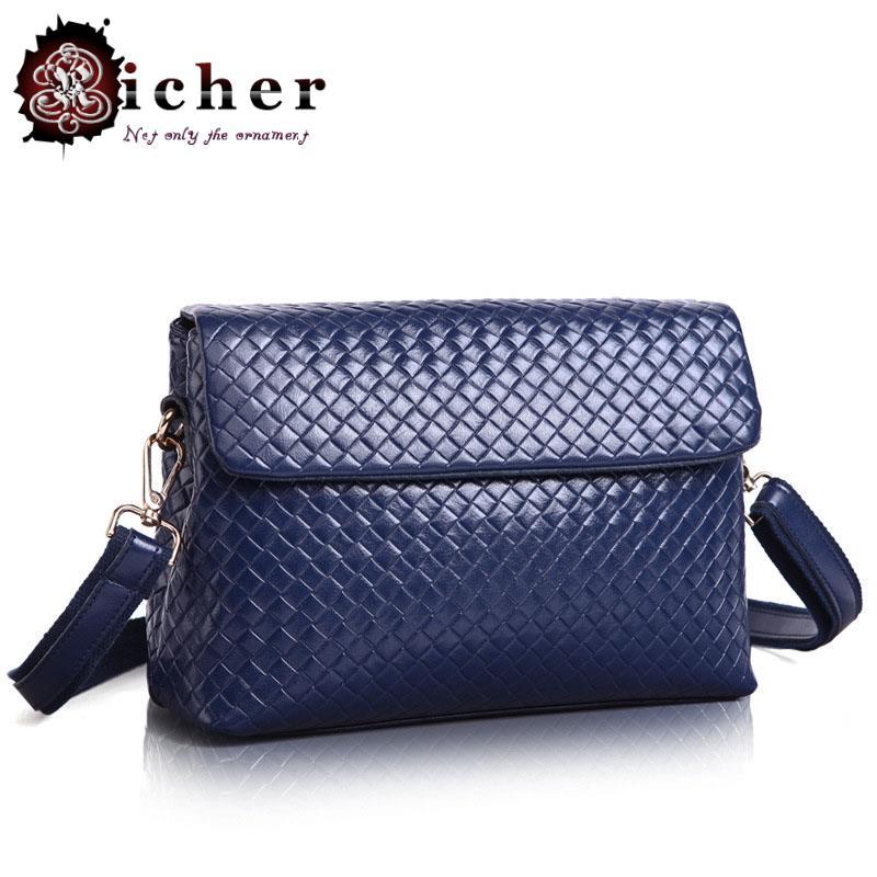 2015 women Bolsa Real Shoulder Bags Fresh Soft Handbags Handbag New Leather Satchel Couture Bag Woven Pattern Small Package(China (Mainland))