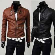 Brand NEW Hot Fashion mens Winter casual Breasted men's Overcoat zipper leather jackets coats / male PU jacket coat brown black