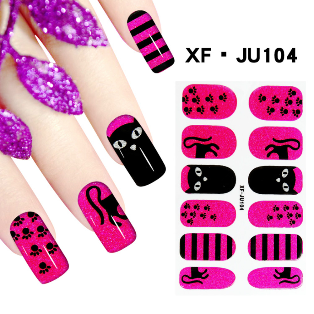 JU104 Free Shipping 3D Full Nail Strips Beautiful Nail Art Stickers With One Nail File Ju104 Buy One Get Two Total 3 Pack(China (Mainland))