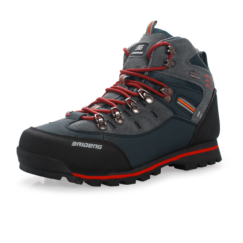Waterproof Genuine Leather Outdoor Boots <font><b>Hiking</b></font> <font><b>Shoes</b></font> New Autumn Winter Mens Sport <font><b>Shoes</b></font> Trekking Mountain Climbing Suede Boots