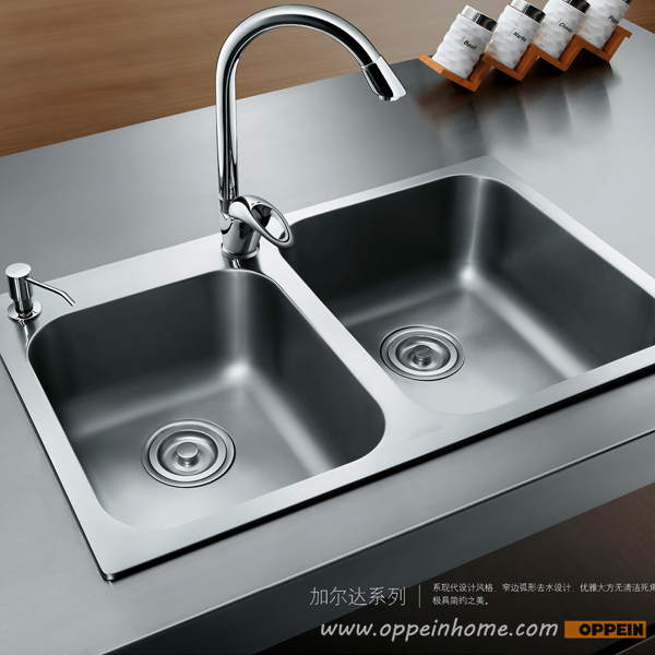 OPPEIN Stainless Steel Easy to Clean Double Bowel Kitchen Sink with Faucet (OP-PS329-TC)(China (Mainland))