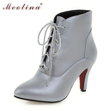 Buy Meotina Fall Winter Women Shoes High Heel Ankle Boots Pointed Toe Lace Boots Wedding Shoes Black Sliver Large Size 12 45 46 for $25.66 in AliExpress store