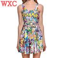 Pokemon Go Pikachu Dress Girls Summer Sleeveless Pleated Party Sexy Dress Costume Empire Girl Clothing WXC