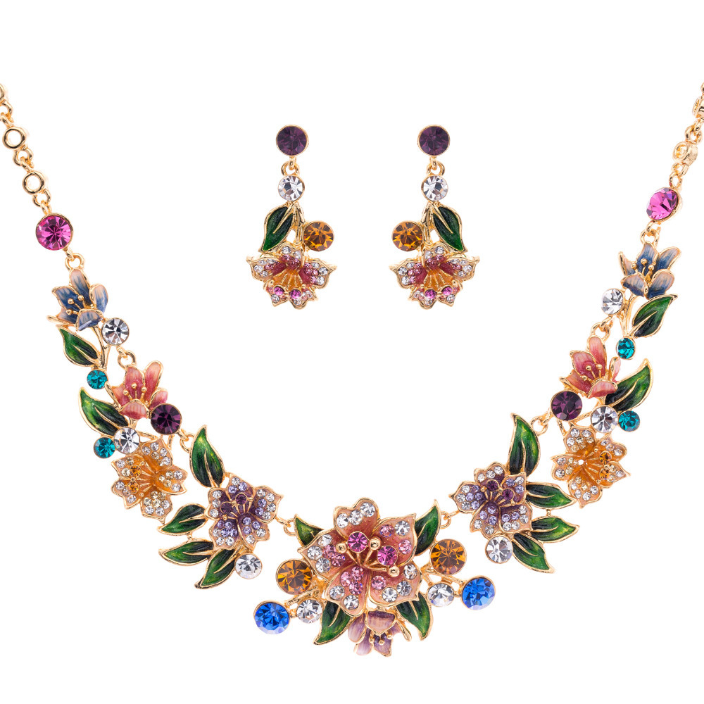 Designer Brand Necklace Earrings Set Gold Plated Woman Enamel Jewelry Sets for Women Multicolor Flower Austrian Crystal SNA3271<br><br>Aliexpress