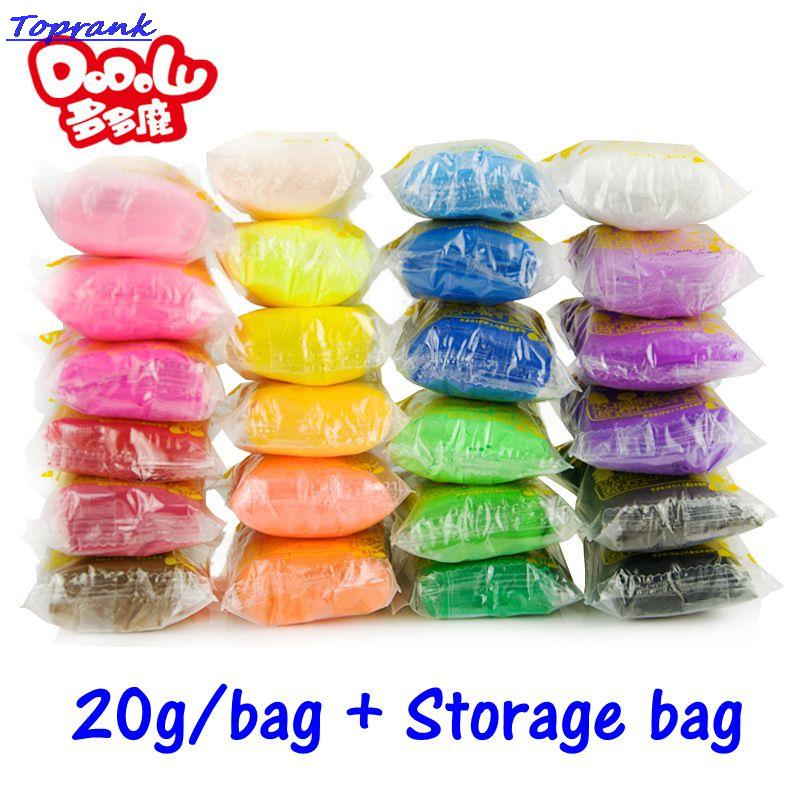 20g/Bag Air Drying DIY Malleable Fimo Polymer Modeling Soft Blocks Plasticine Kids Playdough Polymer Clay Toys(China (Mainland))