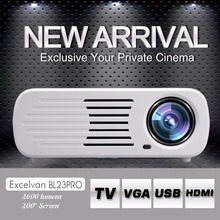 Excelvan BL23 Pro LCD LED Projector 2600 Lumens Full HD 1080P Android 4.4.2 ROM RAM 1G+8G Home Theater 3D Proyectors Beamer(China (Mainland))
