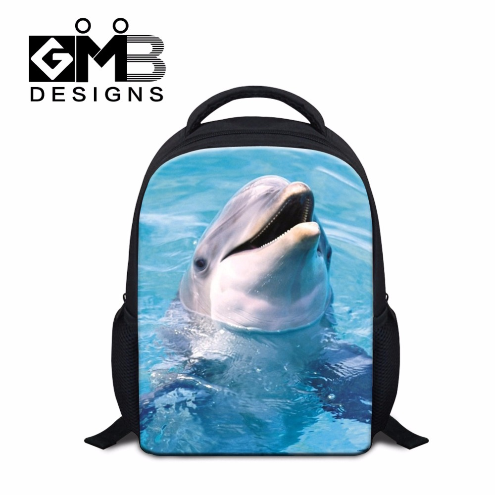 Stylish Animal Small School backpacks for Little Kids Dolphin 3D Printed Bookbags for Kindergarten Boys Girl Ultra Light mochila(China (Mainland))