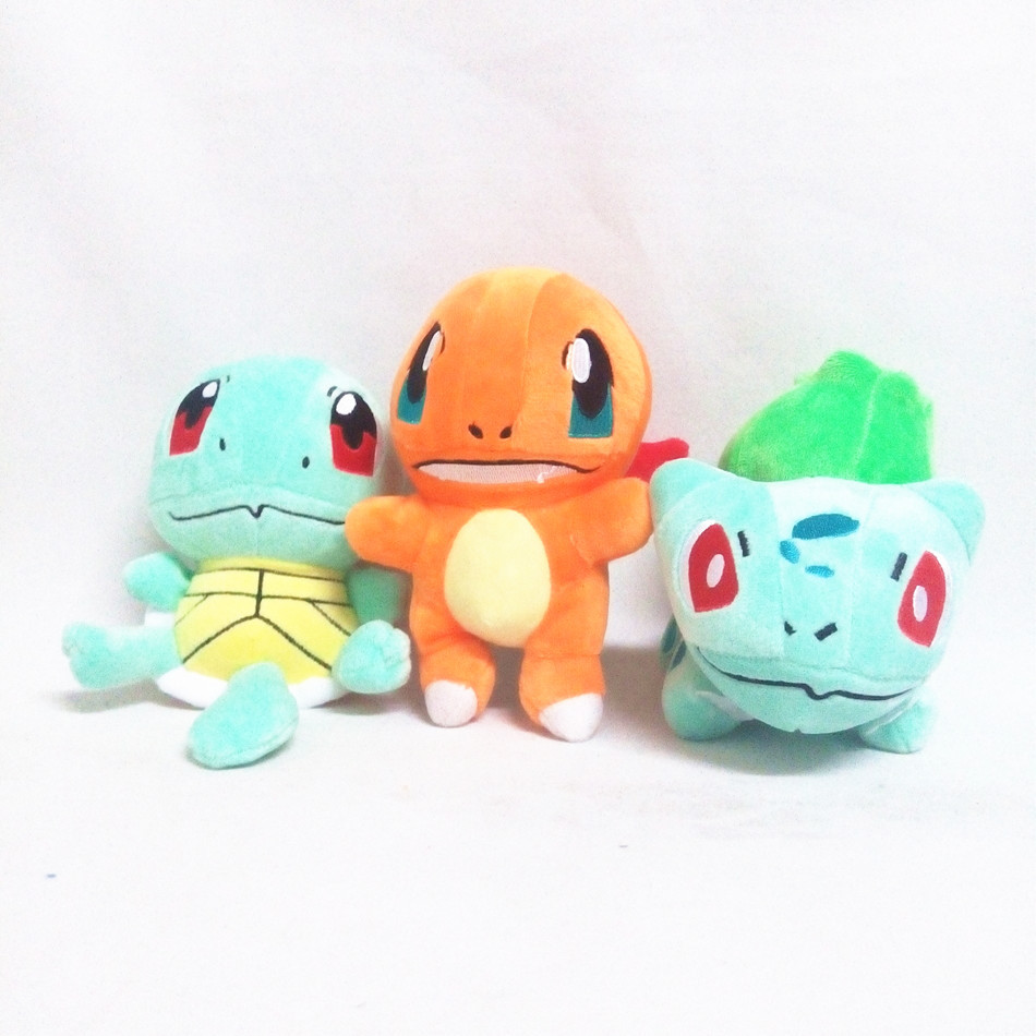 New Hot Cute 3pcs/set Pokemon Game Plush Toy Squirtle & Charmander & Bulbasaur Lovely Stuffed Animals Doll Kids & Children Gift(China (Mainland))