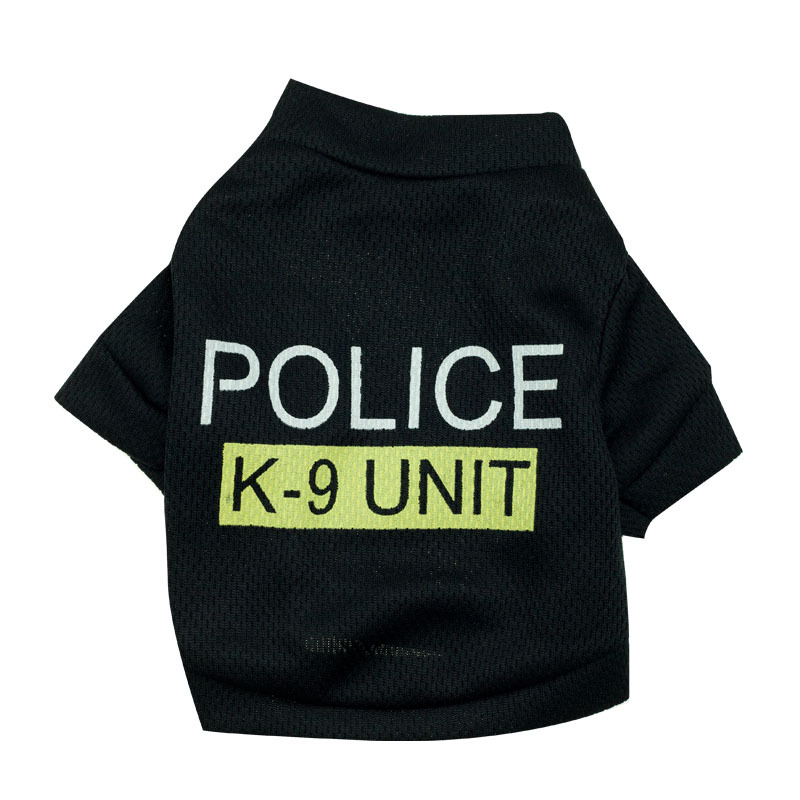 Big dog coat clothes Puppy Clothing Police Printed T-Shirt Costumes Cat Summer Spring Apparel for Small Dogs Animal vestito cane(China (Mainland))