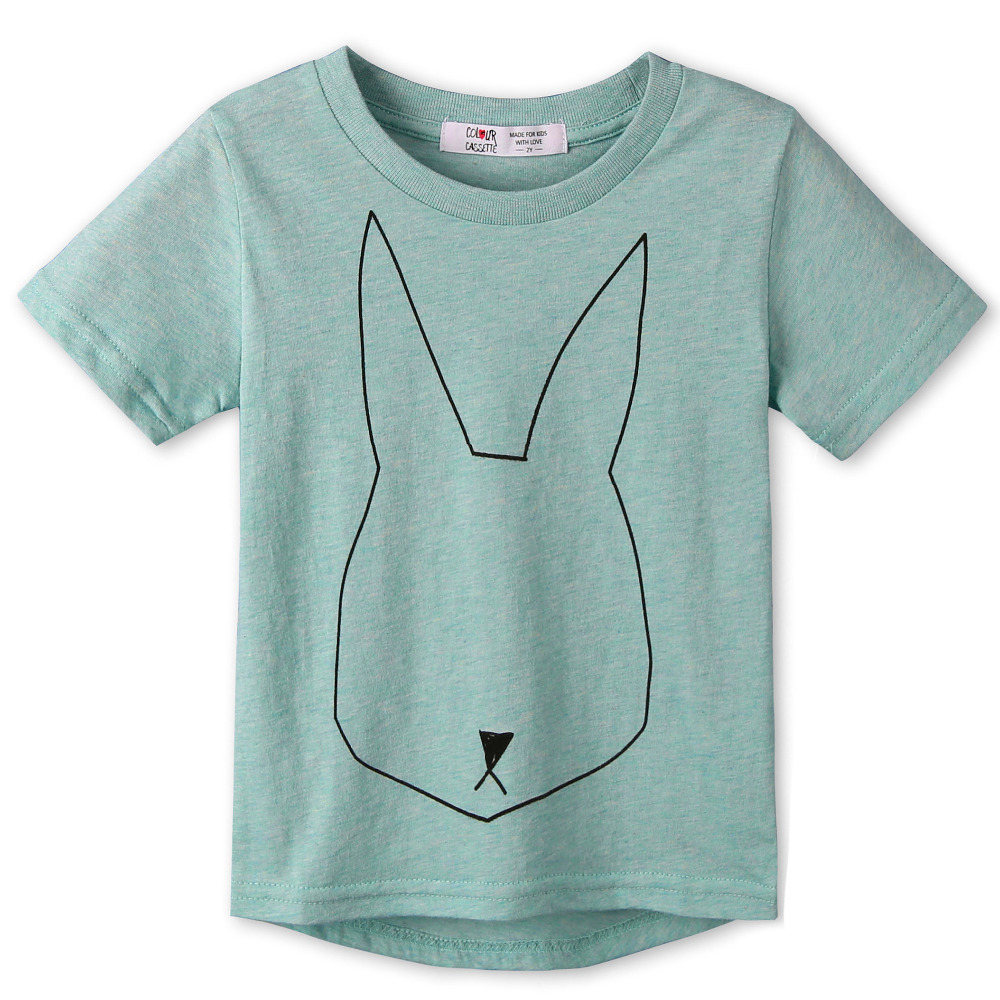 2015 New Summer Children Clothes 100%Cotton Jersey allover Rabbit print Short Sleeves Kids boy's girls T shirt . Two colors(China (Mainland))