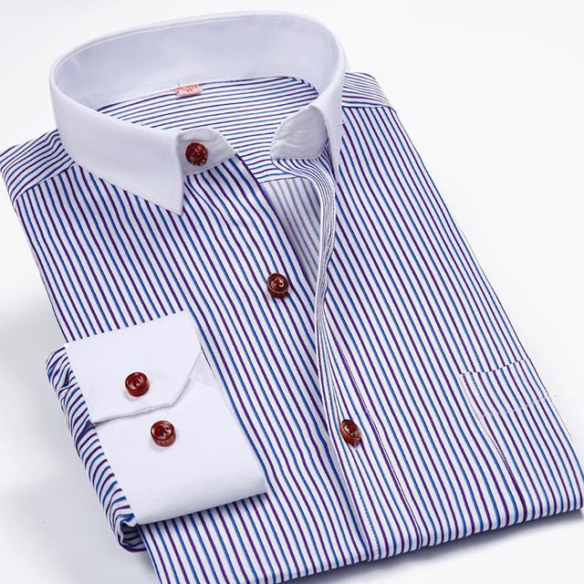 2016 мода полосатый рубашки с длинным рукавом мужской социальной рубашка свободного ...