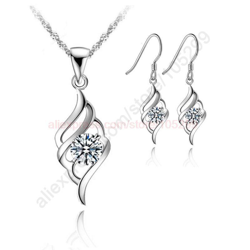 "Гаджет  2015 Angle Wing Flying Nice 925 Sterling Silver Jewellery Pendant Necklace Korea Stylish Earring Jewelry Sets+18"" Chain None Ювелирные изделия и часы"