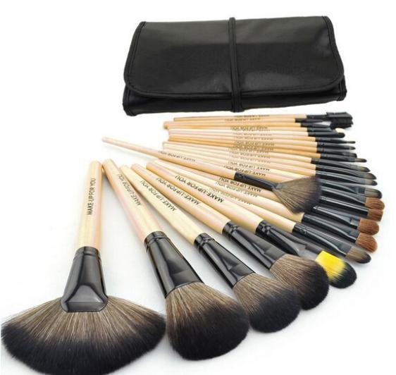 HOT Sale Professional 24 pcs Makeup Brush Set tools Make-up Toiletry Kit Wool Brand Make Up Brush Set Case free shipping(China (Mainland))