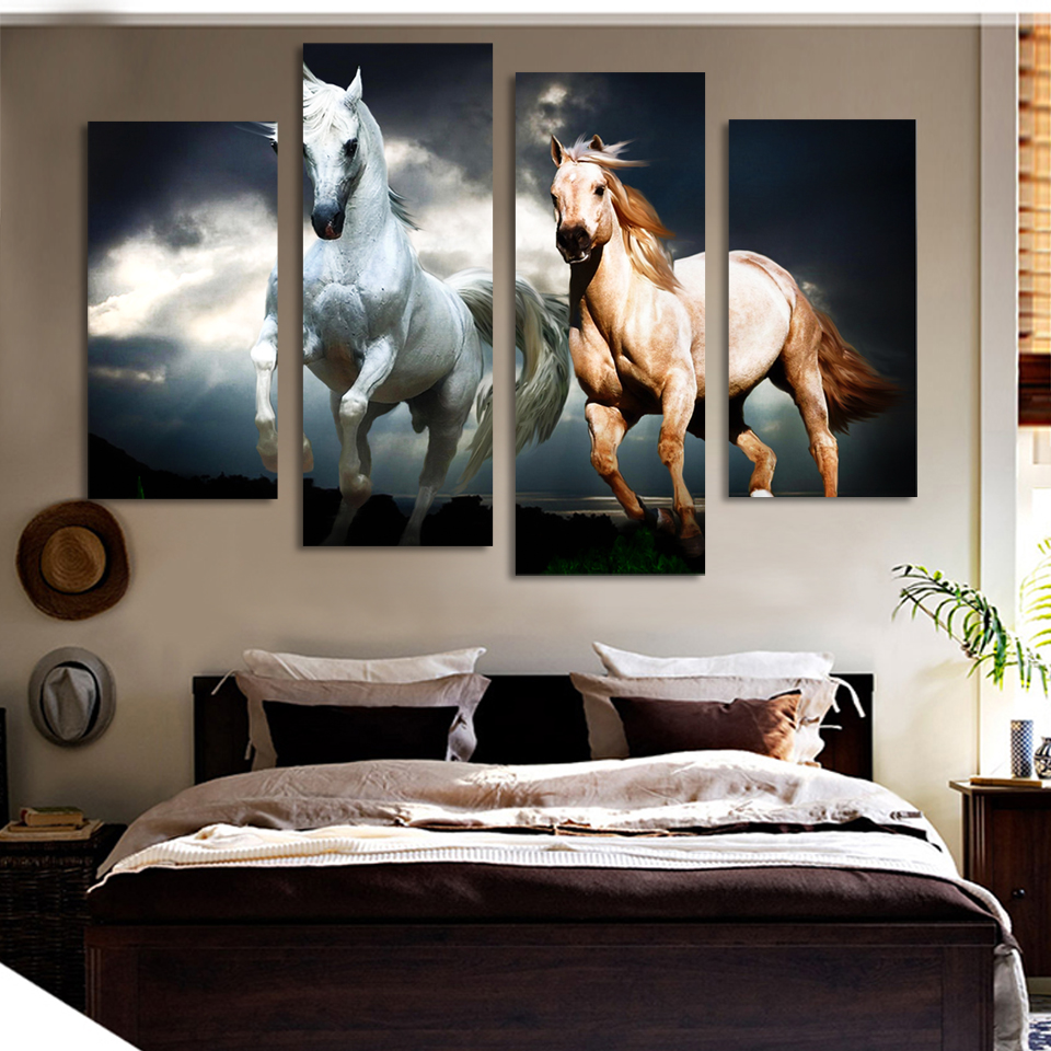 2016 Limited Top Fashion 4 Ppcs Horse Painting Canvas Wall Art Picture Home Decoration Living Room Print Modern Painting--large(China (Mainland))