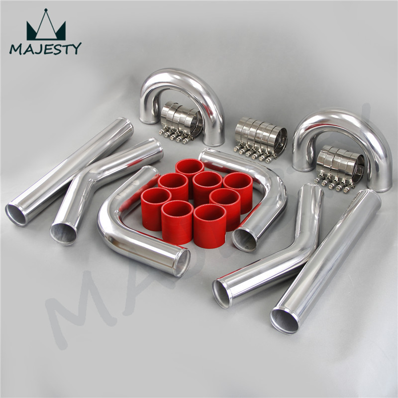 """TURBO INTERCOOLER PIPE 3"""" CHROME ALUMINUM PIPING PIPE TUBE+T-CLAMPS+ SILICONE HOSES RED(China (Mainland))"""