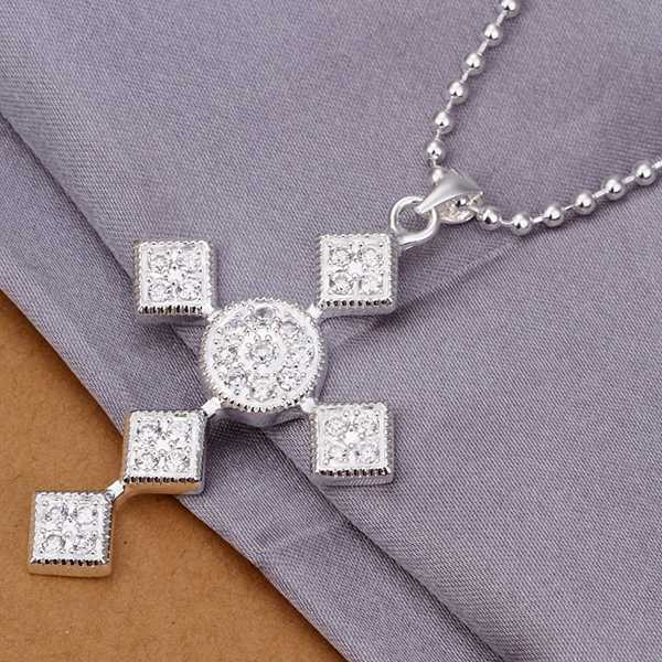 Free Shipping Accessory 925 Silver Necklaces & Pendants,925 Silver Fashion Jewelry,Quartet Combination Cross Necklace SN346 Gif(China (Mainland))