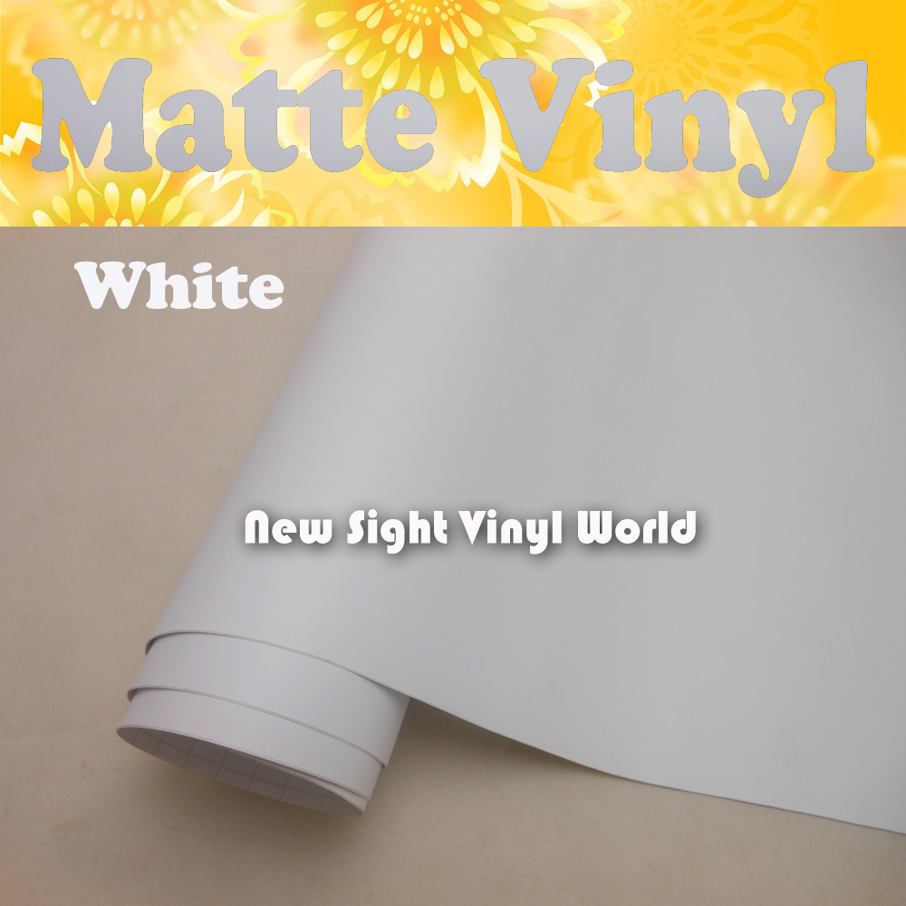 FedEx FREE SHIPPING High Quality Matte White Vinyl Film Roll Air Free Bubble For Car Wraps Thickness: 0.13mm Size: 1.52*30m/Roll<br>