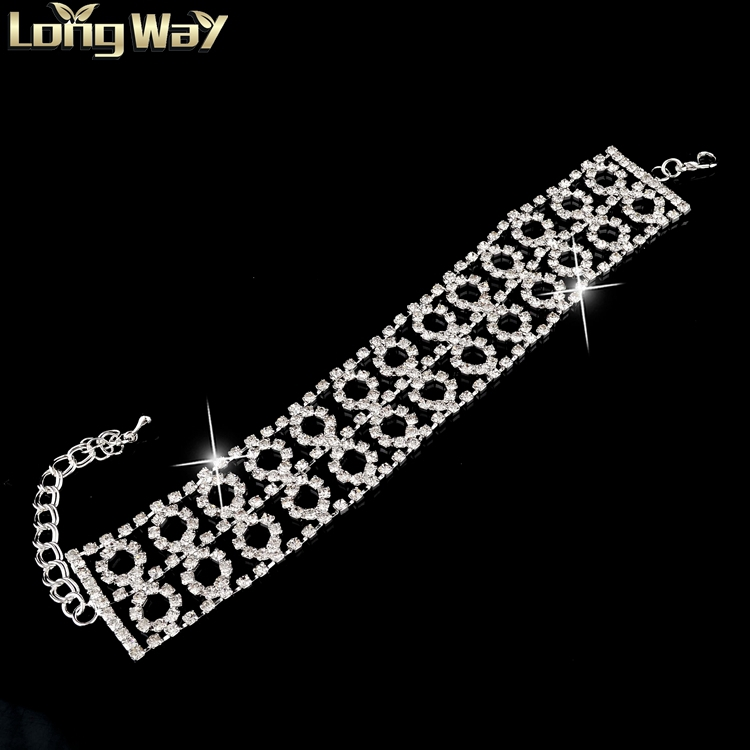 2015 New Hot Sale Italian Bracelet Silver Plated Chain Crystal Women's Bracelets Bangles Elegant Cuff Wedding Bracelet SBR140314(China (Mainland))