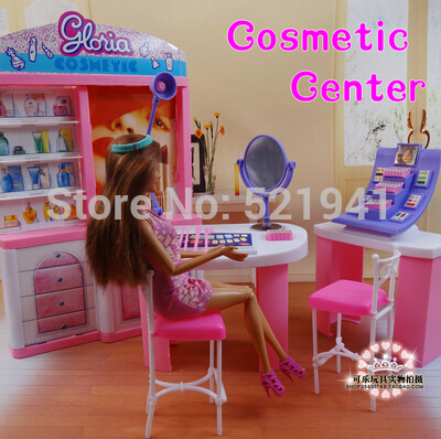 Free shipping pink dream makeup center dressing room doll for Accessoire maison barbie