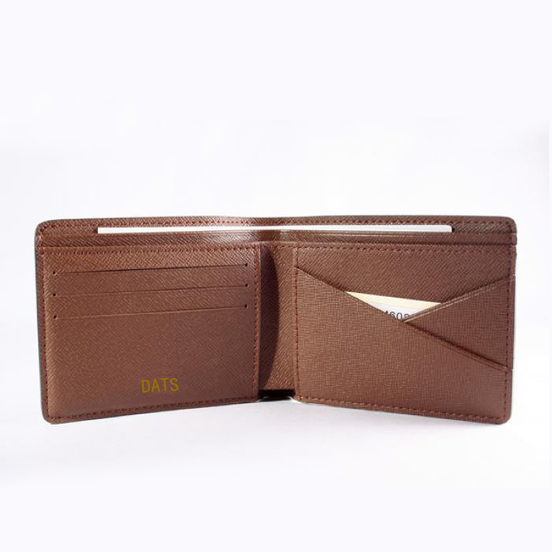 DATS Men wallet classic Monogram canvas fabric lined with real leather wallets High quality minimalist wallet