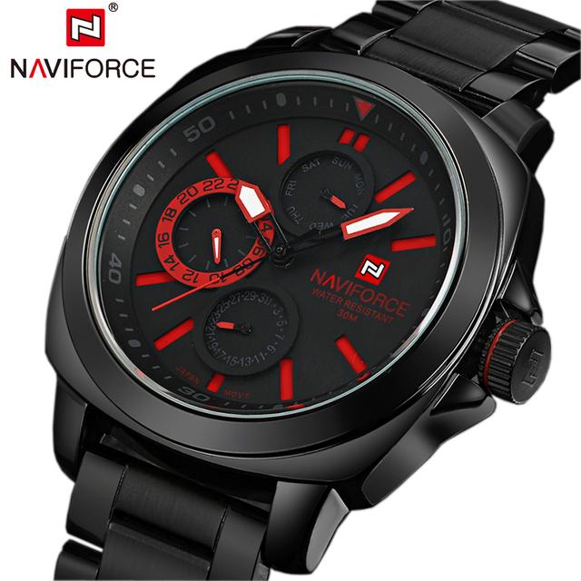 Люксовый бренд шесть рук 24 ч кварцевые часы мужчин спорта из нержавеющей стали бизнес наручные военный Relojes хомбре NAVIFORCE календарная
