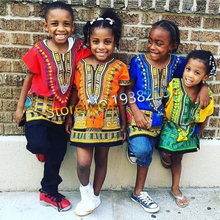 Wholesale 2016 Child New Fashion Design Traditional African Clothing  Print Dashiki T-shirt For Boys and Girls(China (Mainland))