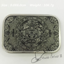 Retail & Wholesale New style high quality cool Aztec calendar men's Metal belt Buckle fit 4cm Wide Belt Jeans accessories(China (Mainland))
