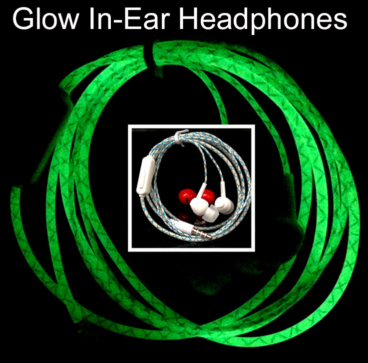 New Glow In The Dark Earphone Mobile In-Ear Glowing Headphones For Apple iPhone Samsung Xiaomi Neon Wired Led Headset Flashlight(China (Mainland))