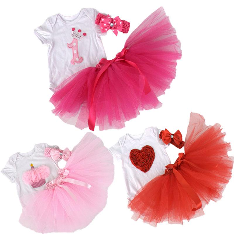 2015New Baby Girl Infant 3pcs Clothing Sets Short Sleeve Romper+Tutu Skirt+Headband Bebe First Birthday Costumes Gift<br><br>Aliexpress