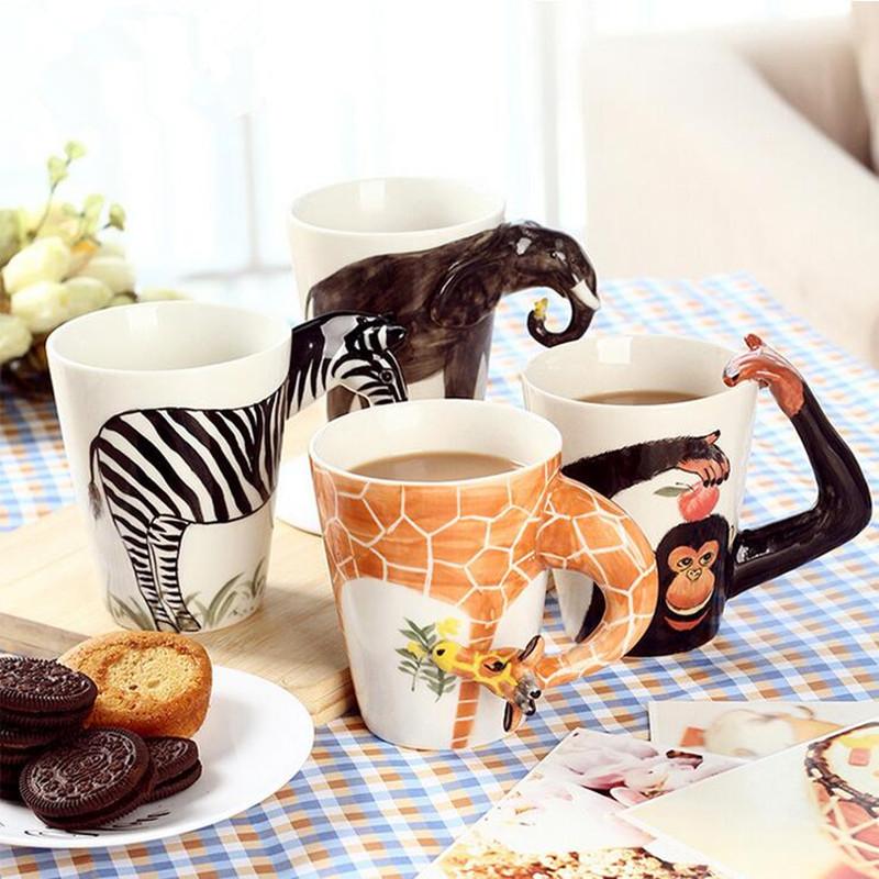 Christmas gift Ceramic coffee milk tea mug 3D 12 animal shape Hand painted Deer Giraffe Deer Lion Monkey Dog Cat Elephant cup(China (Mainland))