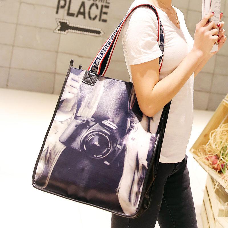 2015 new Korean version of fashion casual retro minimalist camera shoulder bag big bag shopping bag handbag(China (Mainland))