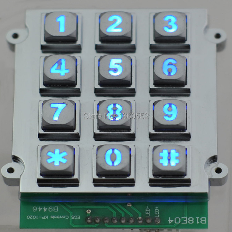 3x4 matrix 12 key light backlit keyboard vandal-proof keypads for doors ATM, lift,door lock,KIOSK IP65 corded lock keypad(China (Mainland))