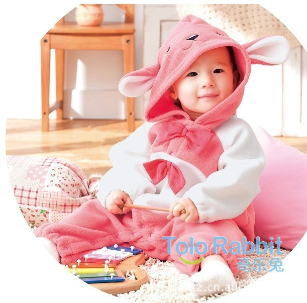 Freeshipping,retail,80cm 90cm baby girls and boys lovely red and white rabbit romper,suit for autumn and spring,baby jump suit(China (Mainland))
