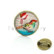 TAFREE Carino Uccello Vintage Spilla per la Donna Cupola Di Cabochon In Vetro di arte immagine pins Badge per il Vestito Maglione intaglia Monili Animali BP01(China)