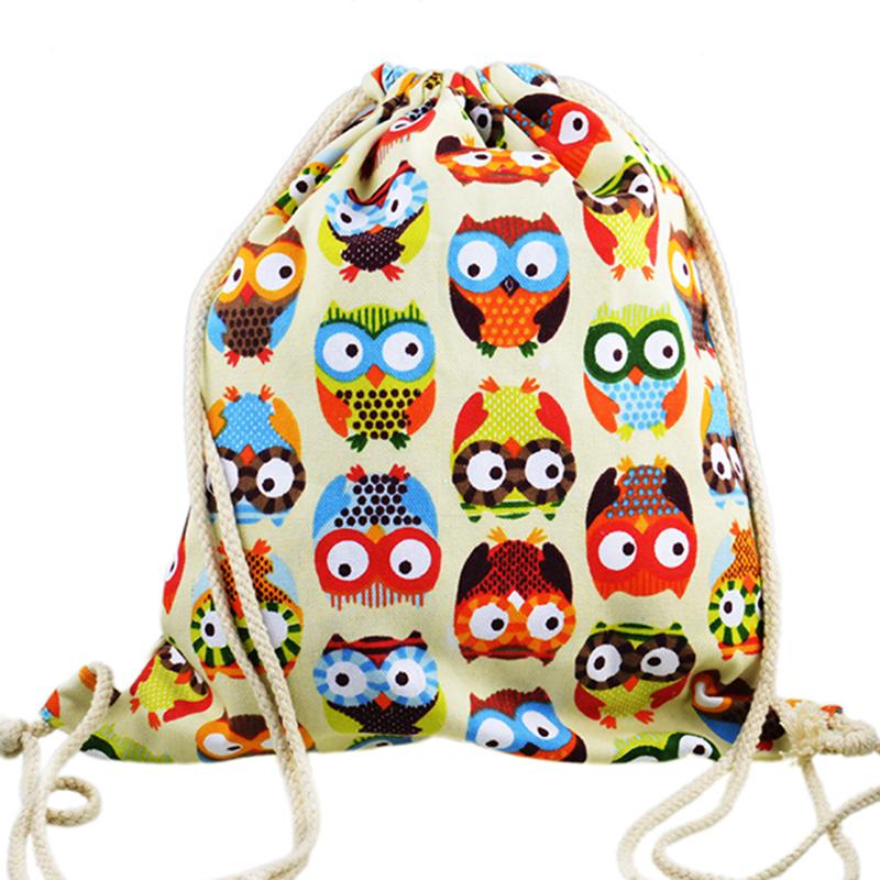 2015 3D Fashion Printed Animal Owl Pattern Cute Girl'S Backpacks Women's Lady Travel Hiking Shopping Drawstring Bag(China (Mainland))