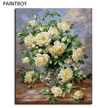 Buy Chinese Rose Frameless Picture Painting By Numbers Oil Painting DIY Digital Canvas Oil Painting Home Decor For Living Room G439 for $8.64 in AliExpress store