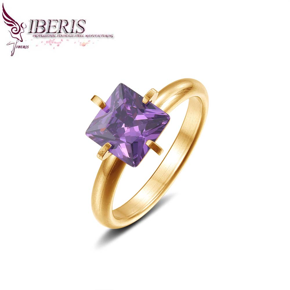 Iberis new products,Women Jewelry Square CZ Ring Free shipping trendy styles stainless steel 18K gold(China (Mainland))