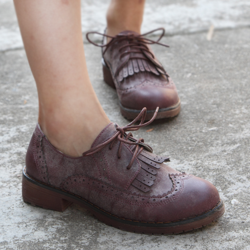2014 Winter Spring Autumn Fashion Women Leather Brogues ...