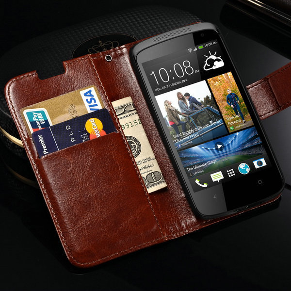 Vintage Wallet with Stand PU Leather Case for HTC Desire 500 506E Leather Cover with Card Holder(China (Mainland))