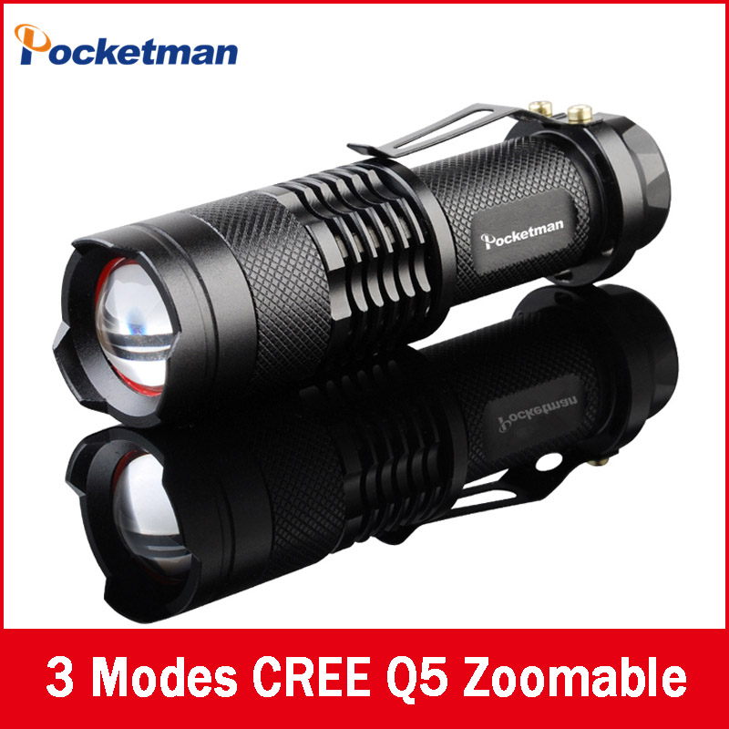 Free shipping Ultra Perfect Cree Q5 LED flashlight high Lumens power mini zoomable 3 modes waterproof torch 14500 /AA Battery(China (Mainland))