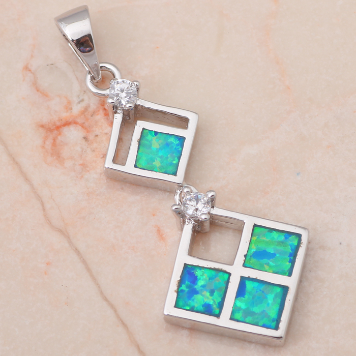 Wholesale & Retail Blue fire Opal Fashion jewelry Silver sterling 925 Necklace Pendants Birthday Gifts OP235(China (Mainland))