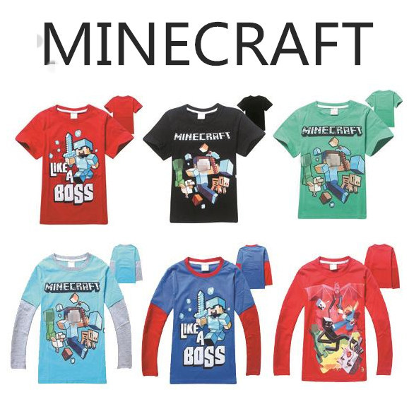 4-12T Minecraft Costume Boys T-shirt Popular Game Steve Kid T shirts Casual Sleeved Minecraft Children T-shirts Boys Clothes #Z(China (Mainland))