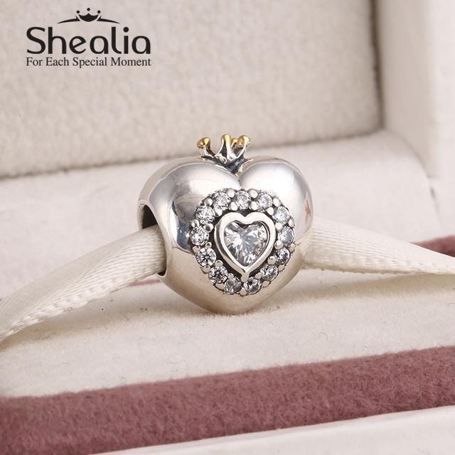 925 чистое серебро в форме сердца подвески-талисманы с 14 k позолота корона вымощает розовый и прозрачный cz подходит своими руками браслет SH0556